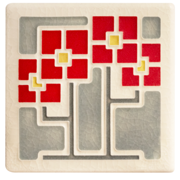 "Square Flowers - Red Tile - 4"" x 4"""