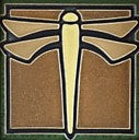 Green Dragonfly Tile 4""