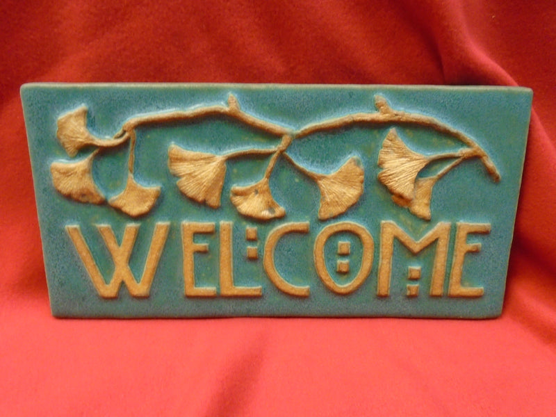 "Welcome Ginkgo Teal  Tile - 6"" x 12"""