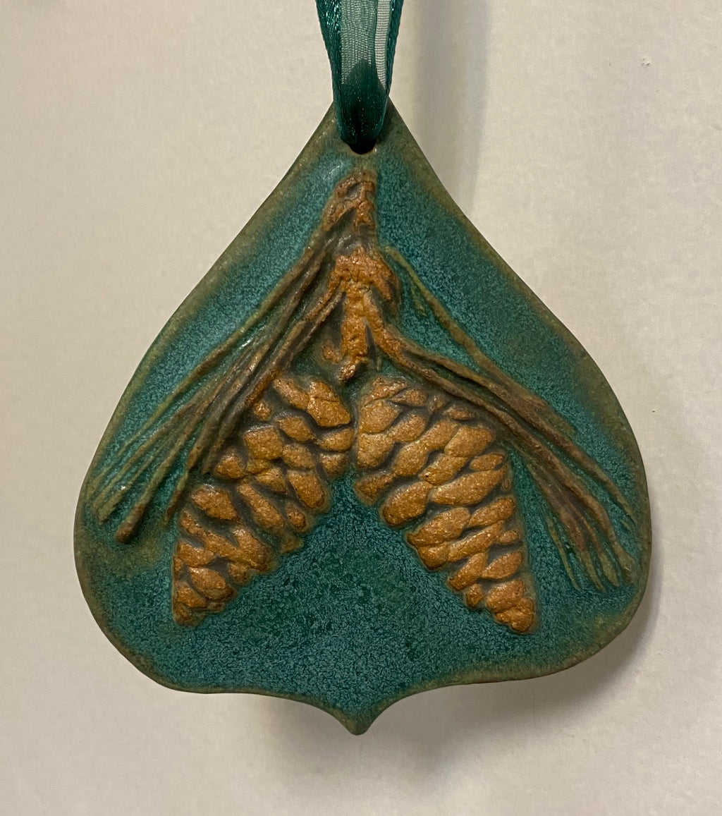 Pine Cone Teal Ornament  - 3""