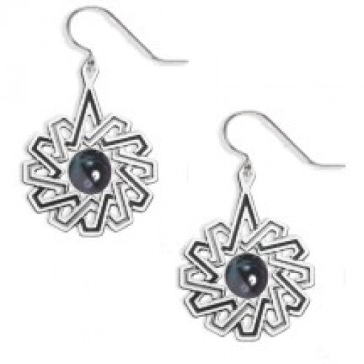 Rookery Pattern Earrings - Tahitian Black Faux Pearl