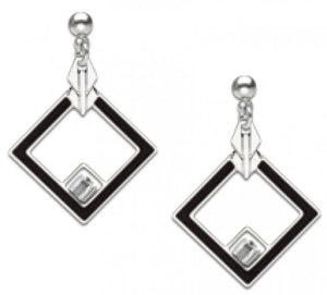 May House Earrings - Crystal Bead and Black Enamel