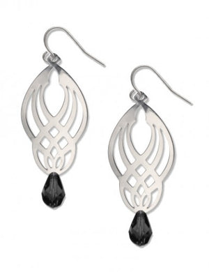 Sullivan Stencil Earrings - Black Bead