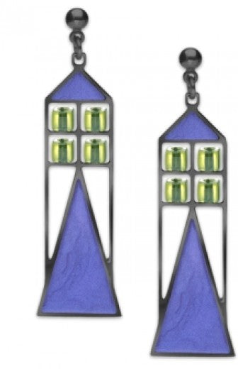 Babson Window Earrings - Pale Green Bead with Twilight Blue Enamel