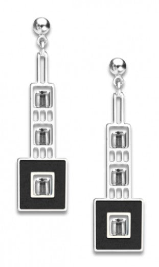 Elmslie Detail Earrings - Crystal Bead and Black Enamel