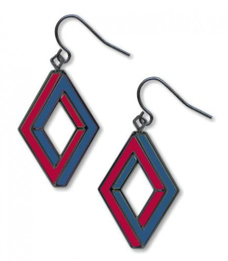 Op Art Penrose Rectangle Earrings - Garnet Accents