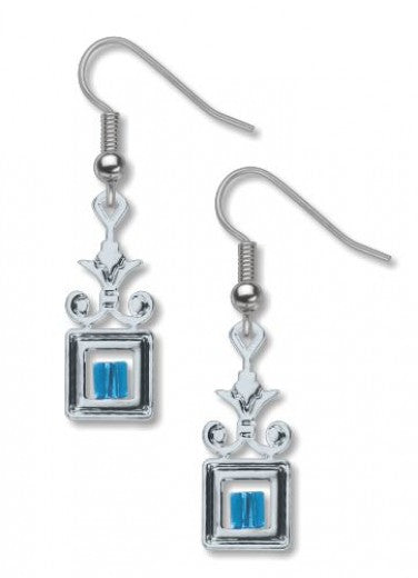Wrought Iron Earrings - Blue Bead