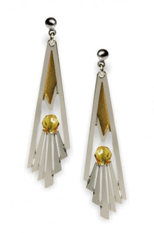 Grand Staircase Rail Detail Earrings - Topaz Bead and Gold Enamel