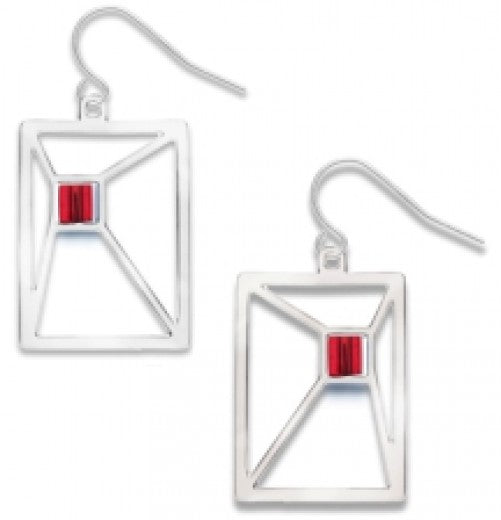 Ronchamp Window Earrings - Red