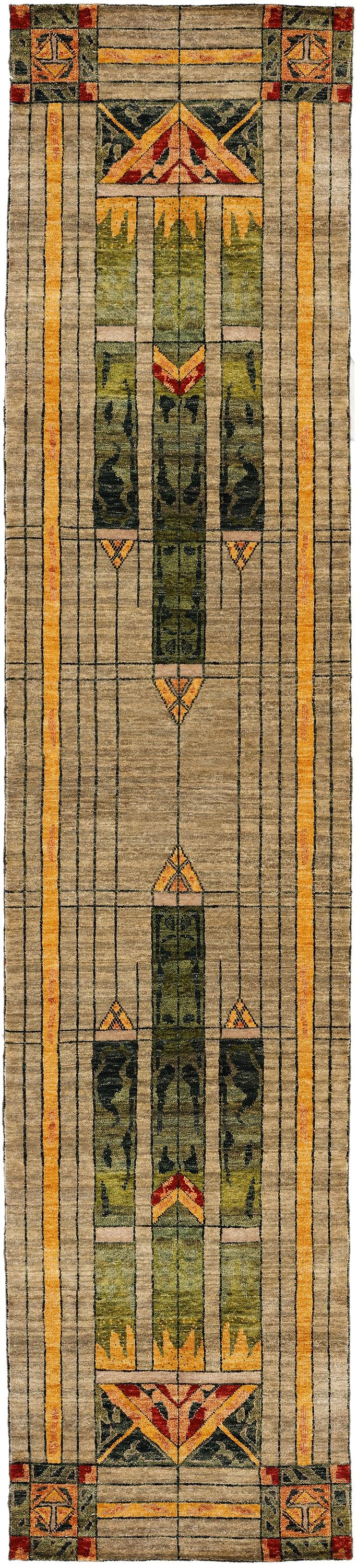 Stained Glass  Green -  Wool Area Rugs.