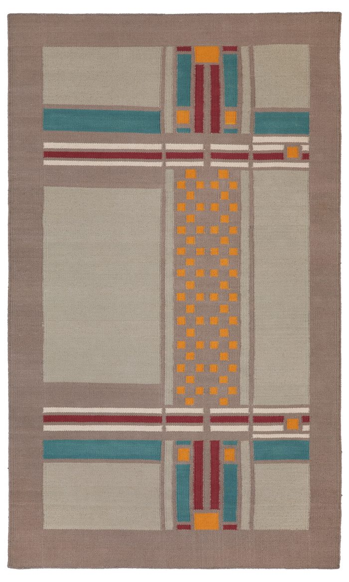 Frank Lloyd Wright Boynton House Cotton Flat Weave 3'x5' Rug.