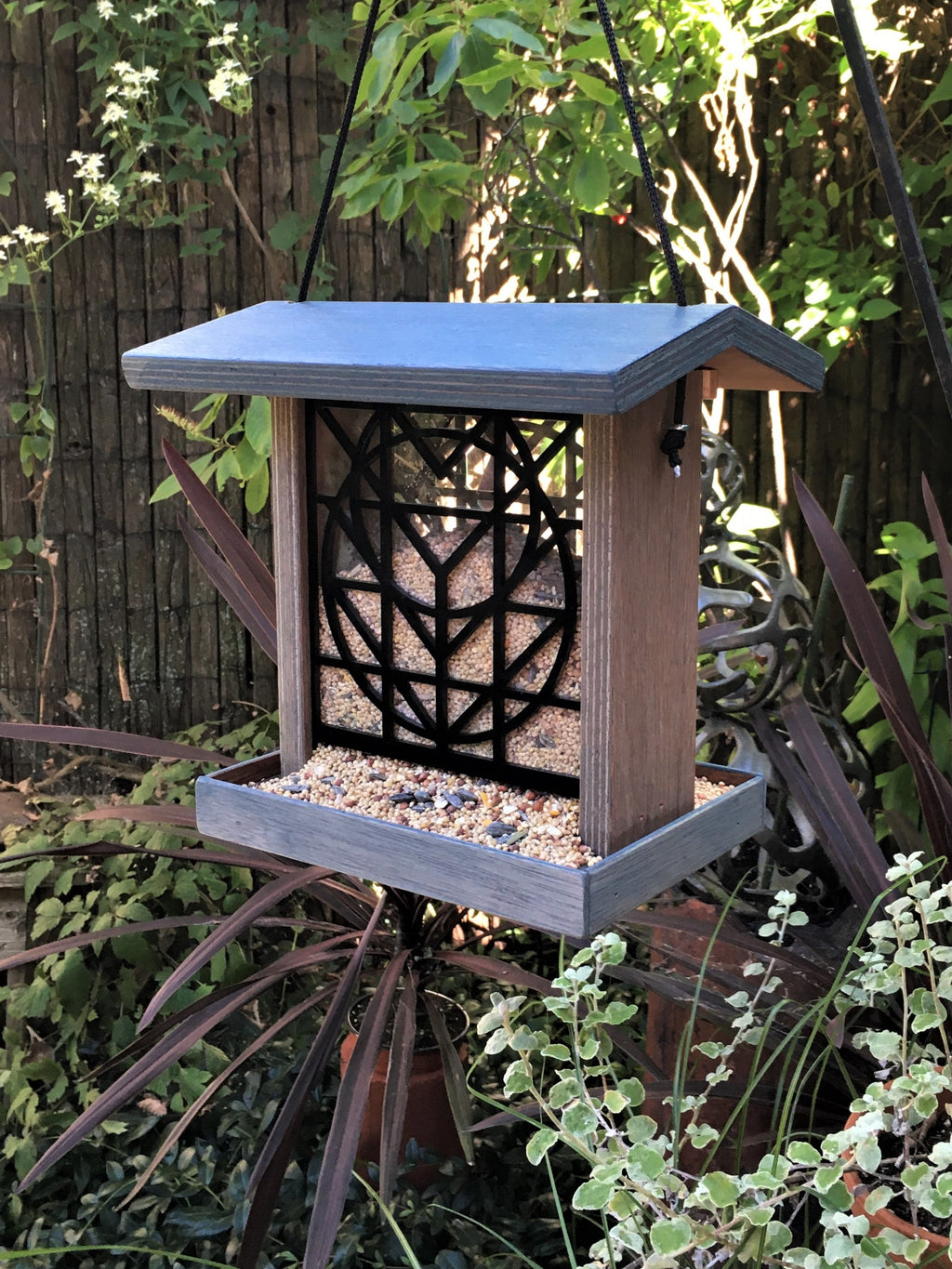 Flora Bird Feeder - Slate Blue.