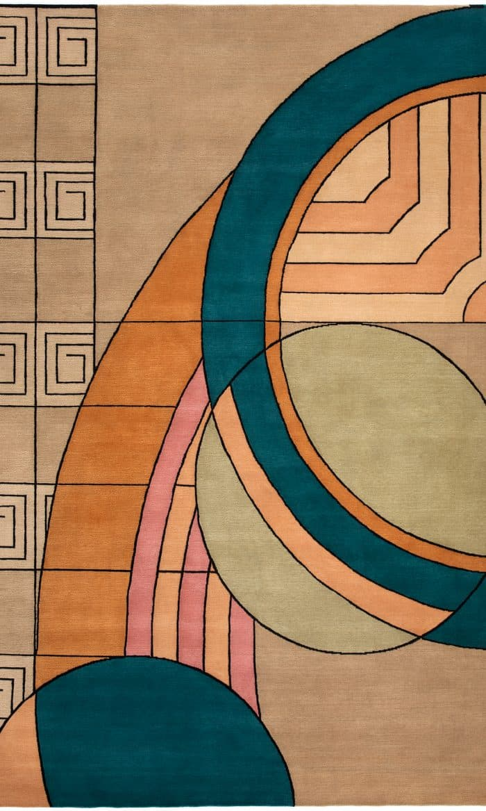Frank Lloyd Wright Collection Wool Hoffman House  6' x 9' Area Rug.