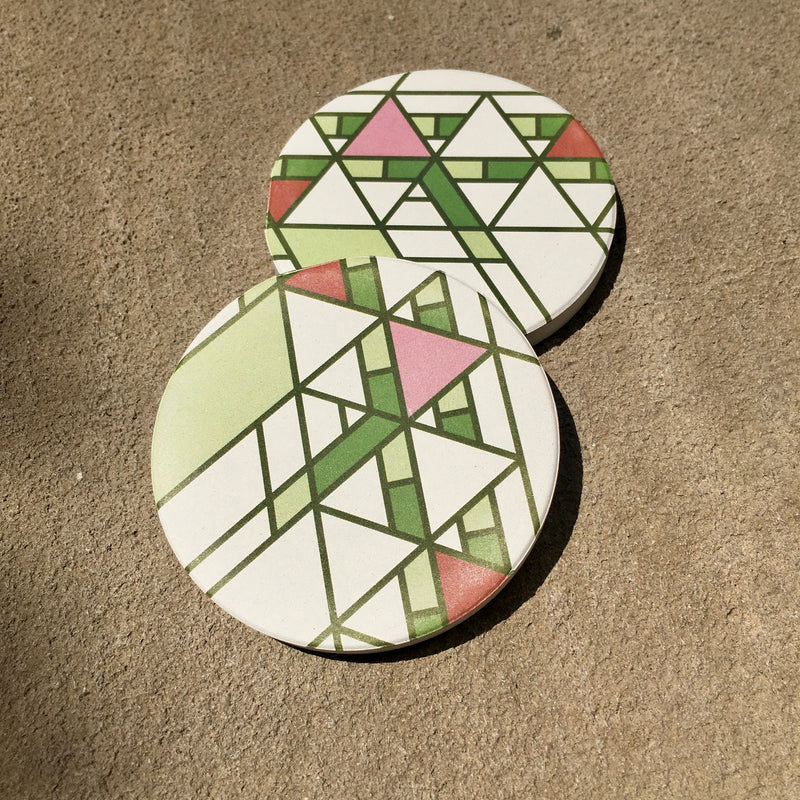 Hollyhock House Car Coasters Set/2