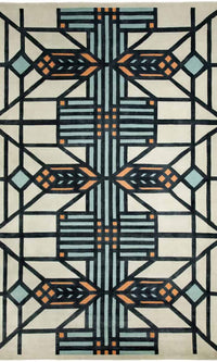 Frank Lloyd Wright Collection Wool Lake Geneva 6' x 9' Area Rug.