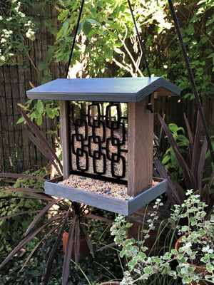 Mid Mod  Bird Feeder - Slate Blue.