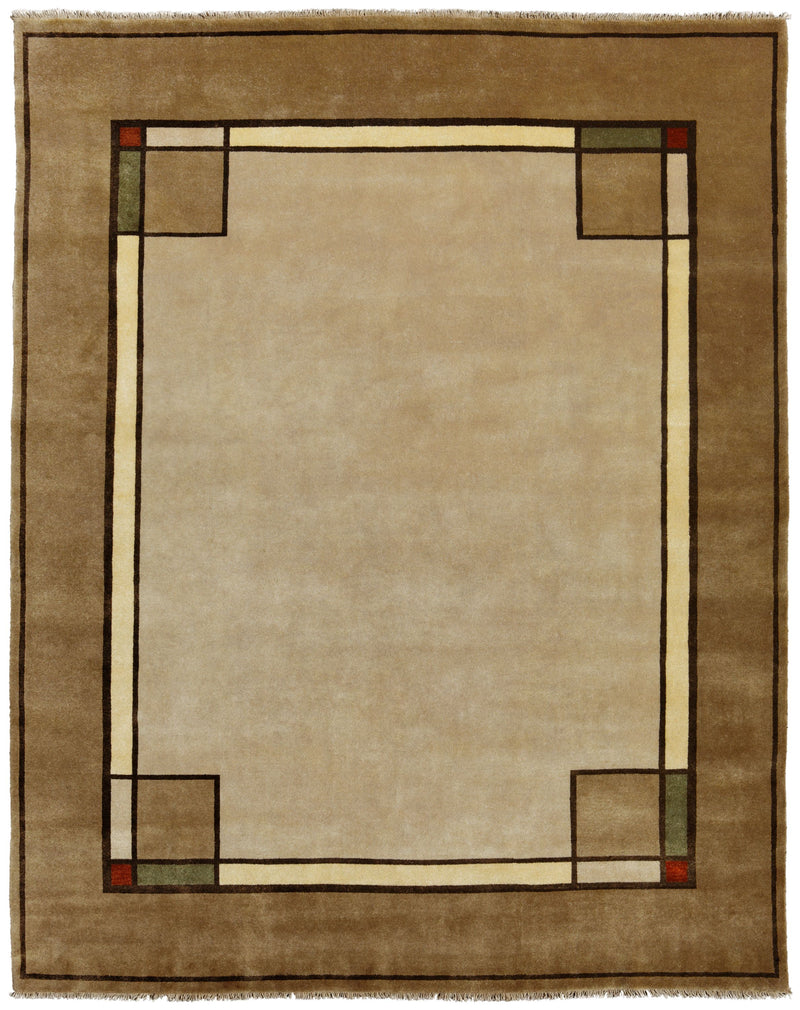 Ginkgo Border, Oatmeal -  Wool Area Rugs.