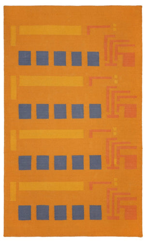 Frank Lloyd Wright Usonian Cotton Flat Weave 3'x5'Rug.