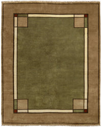 Ginkgo Border, Sage -  Wool Area Rugs.