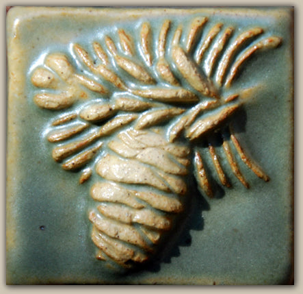 "Pine Cone Teal Tile - 2"" x 2"""
