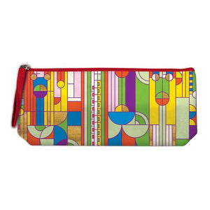 Frank Lloyd Wright Saguaro Cactus and Forms Handmade  Embroidered Pencil Pouch