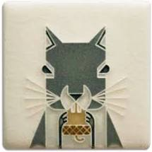 "Squirrel Tile-Charley Harper 3"" x 3"""