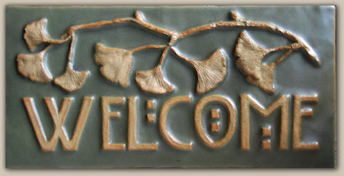 "Welcome Ginkgo Green  Tile - 6"" x 12"""