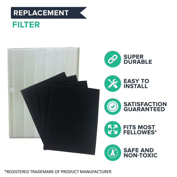 Crucial Vacuum Replacements for Fellowes HEPA Style Air Purifier Filter & 4 Carbon Filters Fit AP-300PH Air Purifier, Compatible With Part # HF-300