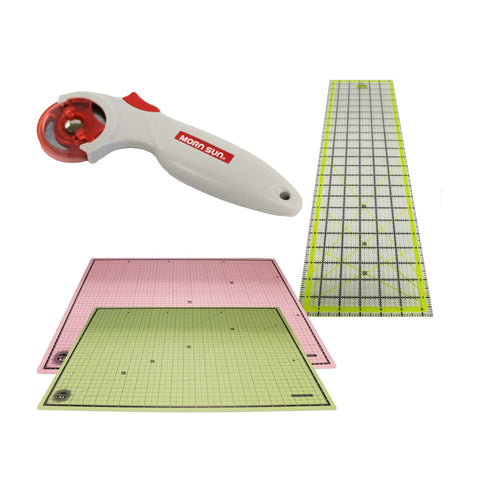 24x18 Self Healing Reversible Cutting Mat, 6x24 Inch Acrylic Cutting Ruler & 45mm Contour Rotary Cutter