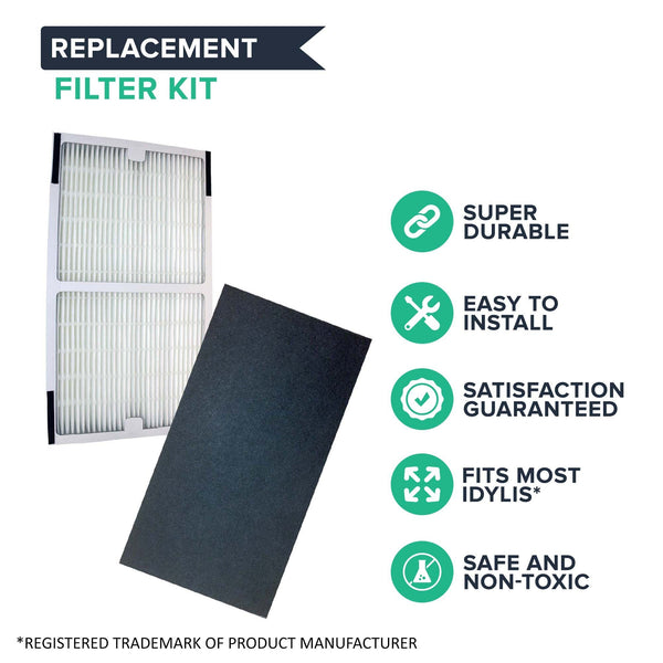 Crucial Air Replacements Compatible with Idylis HEPA Style C Air Purifier Filter & Carbon Filter, Model # IAF-H-100C (2 Pack)