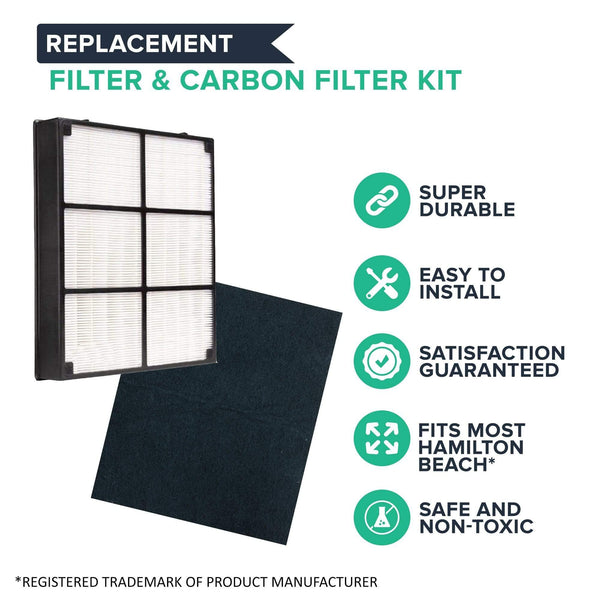 Replacement HEPA Style Filter & Carbon Filter, Fits Hamilton Beach 04160 & 04161 Air Purifiers, Compatible with Part 04912 & 0492