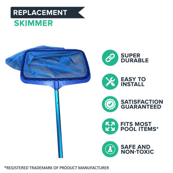 12-Foot Adjustable Telescopic Blue Pool Pole & Deep Blue Pool Rake Skimmer Kit