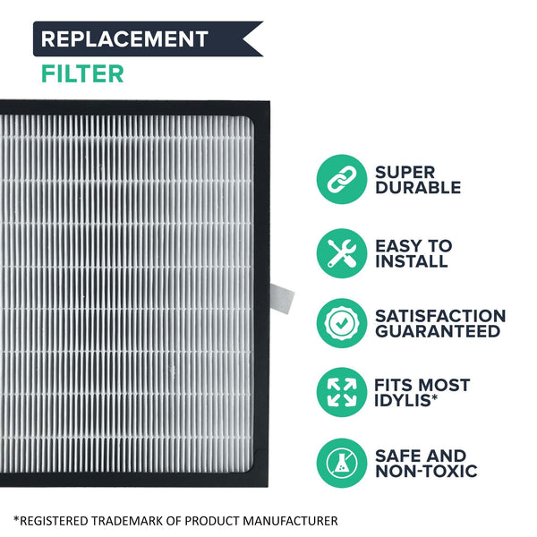 Crucial Air Replacement Parts Compatible with Idylis D Air Purifier Filter Part IAP-10-280 and Model IAF-H-100D - HEPA Style Filters For Home, Office - Air Purifier to Reduce Room Odor, Smell