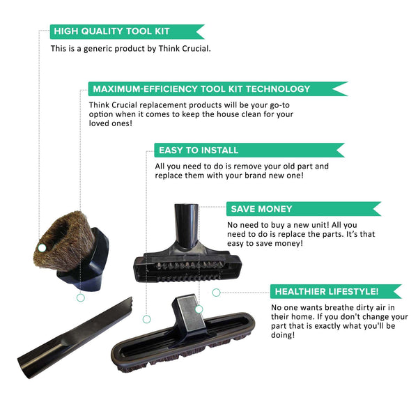 Replacement Tool Kit Includes: Crevice Tool, Dusting Brush, Floor Brush & Upholstery Tool, Fits Rainbow
