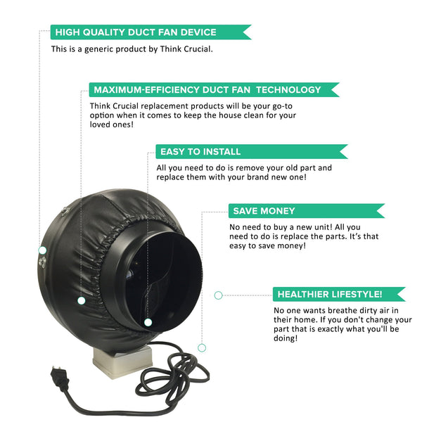 6 Inch Black Duct Fan for Grow Room, Smoke & Odor Emission Control | Part # IF6