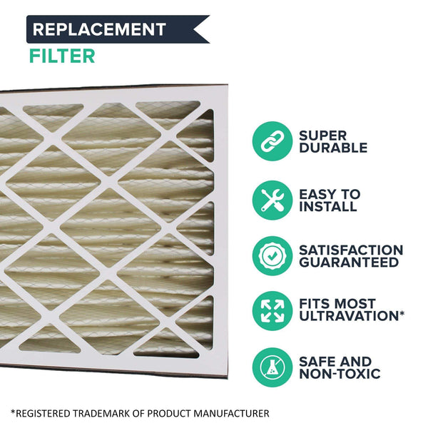 2pk Replacement 20x25x5 MERV-8 Pleated HVAC Furnace Filters, Fits Ultravation, Compatible with Part 91-006