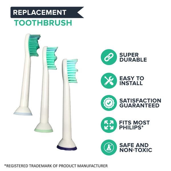 Think Crucial Canada Philips Replacement Compatible with Sonicare Electric Toothbrush Heads, Part # HX-6013