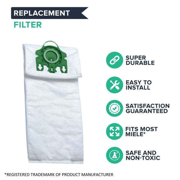 Replacement Cloth U Bags & Filters, Fits Miele Deluxe, Compatible with Part 07282050