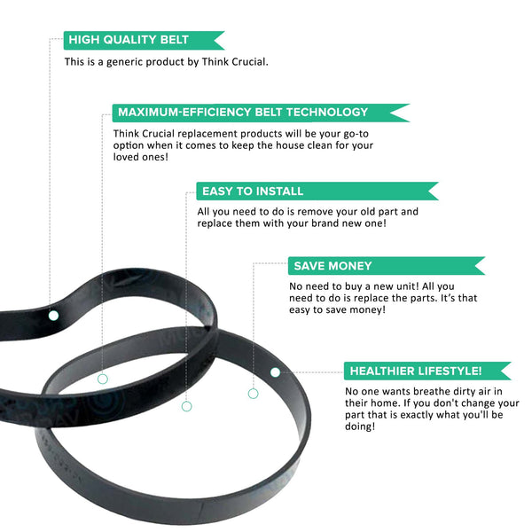 Replacement Vacuum Belts Style 8 & 14, Fits Bissell Lift-Off, Compatible with Part 3200