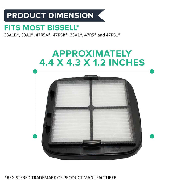 Think Crucial Canada Replacement Vacuum Filter - Compatible With Bissell Automate Cleanview Part 2037416, 2031432, Fits 27K6, 33A1B, 47R5A, 47R5B, 33A1, 47R5, 47R51 Models