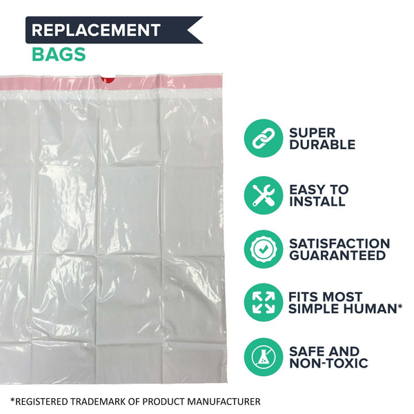 Replacement Garbage Bags, Fits Simplehuman Trash Bins, 30-45L / 8-12 Gallon, Style-J