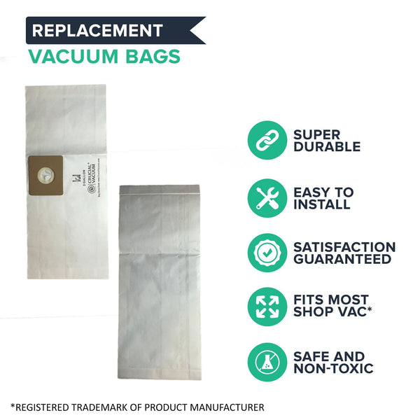 Think Crucial Canada Replacement Vacuum Bags Compatible with Shop-Vac Part # SV-9066800, Fits Type B 2 and 2.5 Gallon Shop-Vac Wet & Dry Vacuum