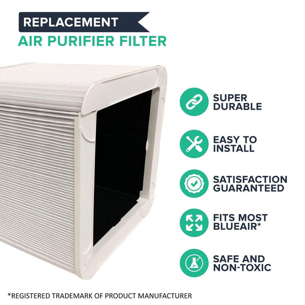 Crucial Air Particle and Carbon Filter Replacement Part Compatible With Blueair Blue Pure Air Purifier Model 211+, Foldable, Bulk