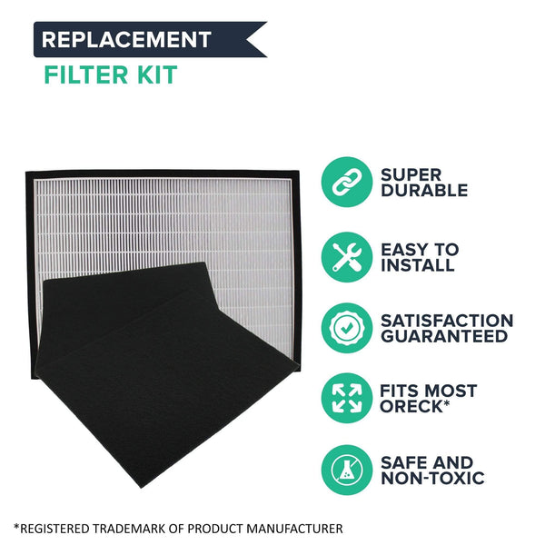 Replacement HEPA Style Filter & Carbon Filter Kit, Fits Oreck OptiMax Air 95 Air Purifiers