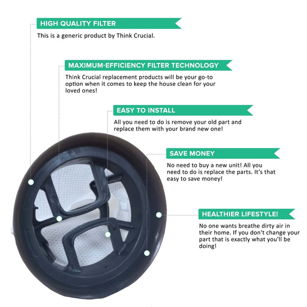 Think Crucial Canada Replacement Air Filters - Compatible with Bissell Bolt Filter Parts - Washable and Reusable Ideal with Models 13122, 13129, 13151, 13139 - Pair with Part #1604734