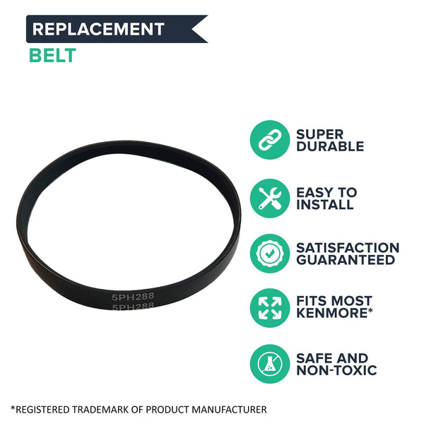 Crucial Vacuum Replacement CB6, CB-6 Belt Parts # 20-5201, 205201 - Compatible with Kenmore Belts - Fit Model 20612, 20712, 20812, 20813, 20912, 21612, 21813, 21912 - Easier Cleaning