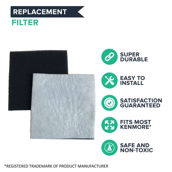 Crucial Vacuum Micro Filtration Filters Replacement - Compatible with Kenmore Part # 20-86883, 86883, 40321 - Allergen Foam Filters Fit Kenmore CF1 Micro Filtration, Progressive Filter