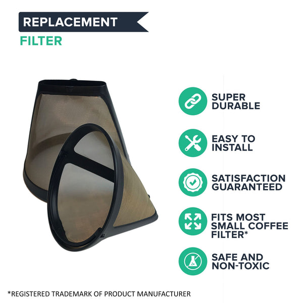 Think Crucial Canada Replacement Compatible with Cuisinart GTF4 Gold Tone Coffee Filter Fits DCC-450, Washable & Reusable