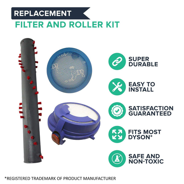 Replacement Pre Filter, Post Filter & Roller, Fits Dyson DC24, Compatible with Part 913788-01, 915928-01 & 917390