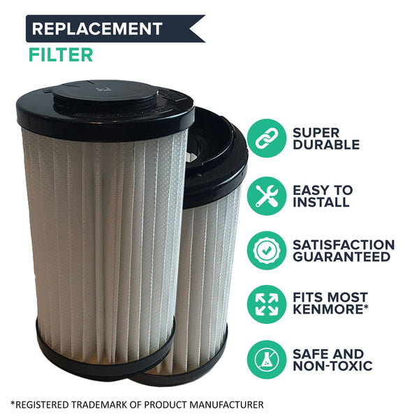 Crucial Vacuum Air Filter Replacement Part # 82720, 82912 - Compatible With Kenmore Vacs - Kenmore DCF1, DCF2 Filter, Removable Endcap For Home Use - Washable, Reuseable